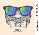 Hipster Animal Frog. Hand...