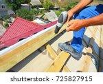 roofing contractor installing...   Shutterstock . vector #725827915