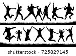 jumping people silhouette vector | Shutterstock .eps vector #725829145