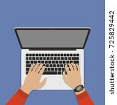 hands on laptop keyboard with...   Shutterstock .eps vector #725829442