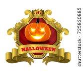 halloween pumpkin glowing in...   Shutterstock .eps vector #725830885