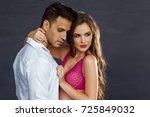 fashion portrait of a beautiful ... | Shutterstock . vector #725849032