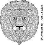lion draw for coloring. | Shutterstock .eps vector #725851306