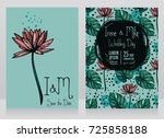 two wedding cards with lotus... | Shutterstock .eps vector #725858188