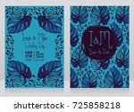 two wedding cards with monstera ... | Shutterstock .eps vector #725858218