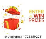 open red gift box with yellow... | Shutterstock .eps vector #725859226