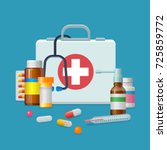 first aid kit medicine cartoon... | Shutterstock .eps vector #725859772