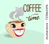 vector background. coffee time  ...   Shutterstock .eps vector #725862496