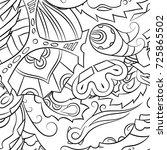 seamless mehndi vector pattern. ... | Shutterstock .eps vector #725865502