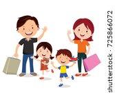 happy family shopping | Shutterstock .eps vector #725866072