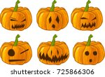 collection of carved pumpkins.... | Shutterstock .eps vector #725866306