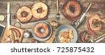dinner table. american bagels ... | Shutterstock . vector #725875432