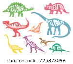 set of colorful dinosaurs with... | Shutterstock .eps vector #725878096