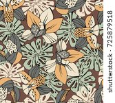 tropic seamless pattern with... | Shutterstock .eps vector #725879518