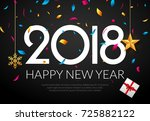 happy new year 2018 background... | Shutterstock .eps vector #725882122