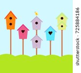 A Set Of Cute Bird Houses And...