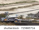open pit coal mine with heavy... | Shutterstock . vector #725885716