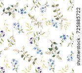 delicate  floral pattern  blue... | Shutterstock . vector #725885722