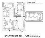 floor plan with furniture in... | Shutterstock .eps vector #725886112