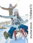 family have fun in the snow in... | Shutterstock . vector #725886472