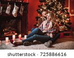 a couple of lovers resting by... | Shutterstock . vector #725886616