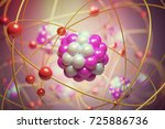 elementary particles in atom.... | Shutterstock . vector #725886736
