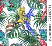 tropical seamless pattern... | Shutterstock . vector #725887756