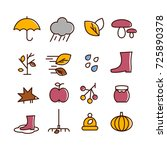 autumn icons set | Shutterstock .eps vector #725890378