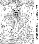 flying pumpkin ghost above... | Shutterstock .eps vector #725899795