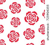 seamless pattern with red roses ... | Shutterstock . vector #725904355