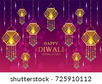 happy diwali festival card with ... | Shutterstock .eps vector #725910112