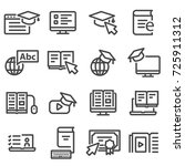 online education icons. video... | Shutterstock .eps vector #725911312