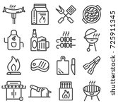 set of barbecue related vector... | Shutterstock .eps vector #725911345
