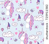 magic cute unicorn with magic... | Shutterstock .eps vector #725911582