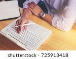 business crew holding pen... | Shutterstock . vector #725913418