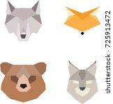 origami paper animals vector... | Shutterstock .eps vector #725913472