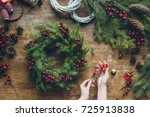 top view of florist hands... | Shutterstock . vector #725913838