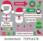 christmas party photo booth... | Shutterstock .eps vector #725916178
