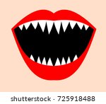 open mouth with sharp teeth and ... | Shutterstock .eps vector #725918488