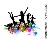 abstract disco dancing girls....   Shutterstock .eps vector #725918932