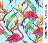 tropical seamless pattern... | Shutterstock . vector #725921326