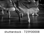 Small photo of Swan lake ballet. Ballerina feet on stage. Black and white photography.