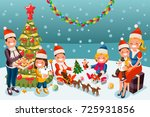 winter kids at christmas party... | Shutterstock .eps vector #725931856