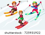boy little skiing. skis in snow ... | Shutterstock .eps vector #725931922