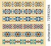 vector set of decorative tile... | Shutterstock .eps vector #725932246