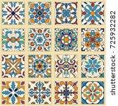 vector set of portuguese tiles. ...   Shutterstock .eps vector #725932282