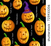 happy halloween pumpkins... | Shutterstock .eps vector #725933206
