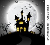 halloween background with scary ...   Shutterstock . vector #725934565