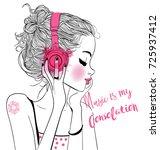 beautiful girl with headphones | Shutterstock .eps vector #725937412