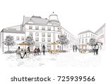 fashion people in the street... | Shutterstock .eps vector #725939566